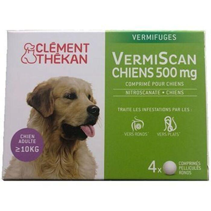 Clement thekan vermiscan chiens 500mg - 4 comprimés Clement thekan-225738