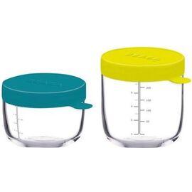 Coffret 2 portions verre bleu neon 150ml & 250ml - beaba -221935