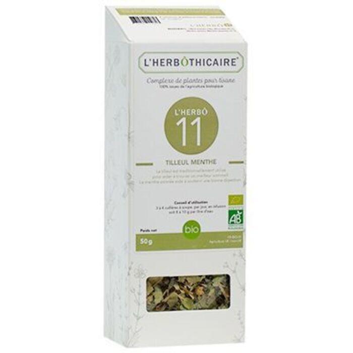 Complexe de plantes pour tisane n11 tilleul/menthe bio 50g L'herbothicaire-220331