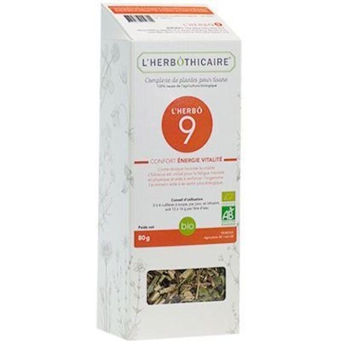 Complexe de plantes pour tisane n9 energie/vitalité bio 80g L'herbothicaire-220340