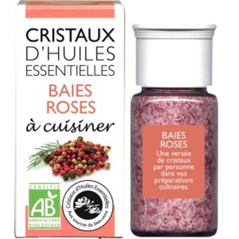 Cristaux d'huiles essentielles baies roses bio - flacon de 18 g - divers - encens du monde - florisens -189105