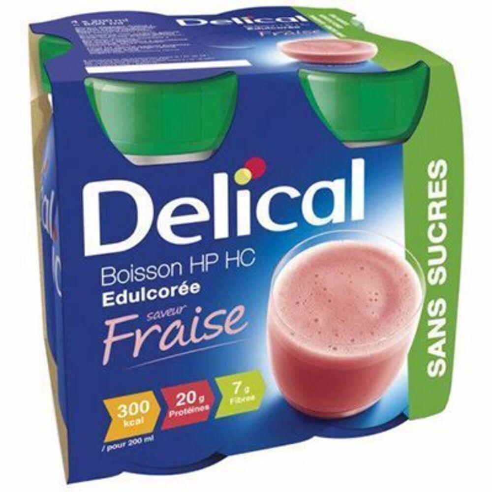 Delical boisson hp hc edulcorée fraise sans sucres lot de 4 bouteilles x 200ml - 800.0 ml - délical -149476