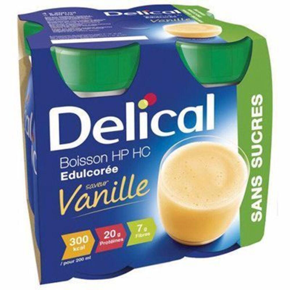 Delical boisson hp hc edulcorée vanille sans sucres lot de 4 bouteilles x 200ml - 800.0 ml - délical -149474