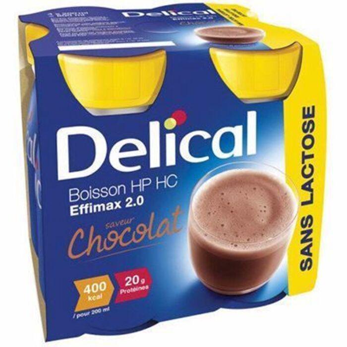 Delical boisson hp hc effimax 2.0 chocolat lot de 4 bouteilles x 200ml Délical-149376
