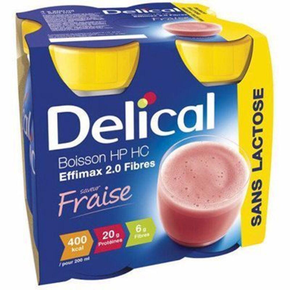 Delical boisson hp hc effimax 2.0 fibres fraise lot de 4 bouteilles x 200ml - 800.0 ml - délical -149469