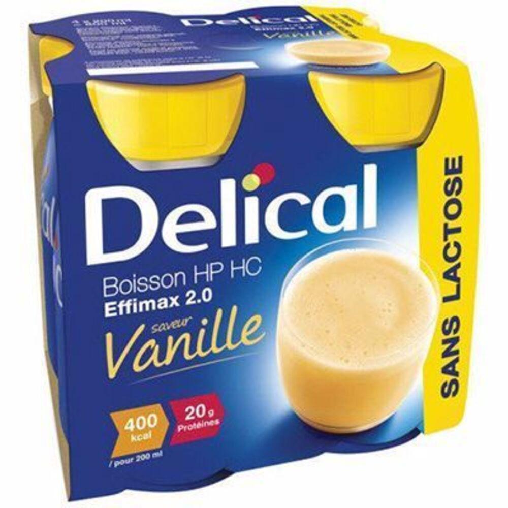 Delical boisson hp hc effimax 2.0 vanille lot de 4 bouteilles x 200ml - 800.0 ml - délical -149375