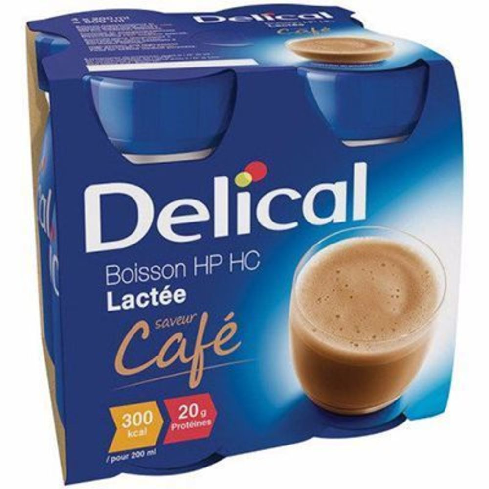 Delical boisson hp hc lactée café lot de 4 bouteilles x 200ml - 800.0 ml - délical -149338