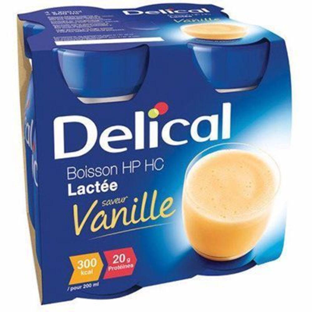 Delical boisson hp hc lactée vanille lot de 4 bouteilles x 200ml - 800.0 ml - délical -149366