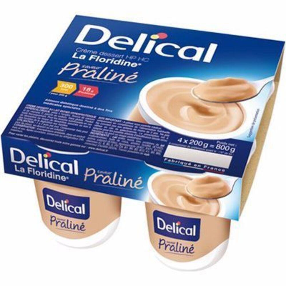 Delical crème dessert hp hc la floridine praliné pack 4 pots x 200g - 800.0 g - délical -149350