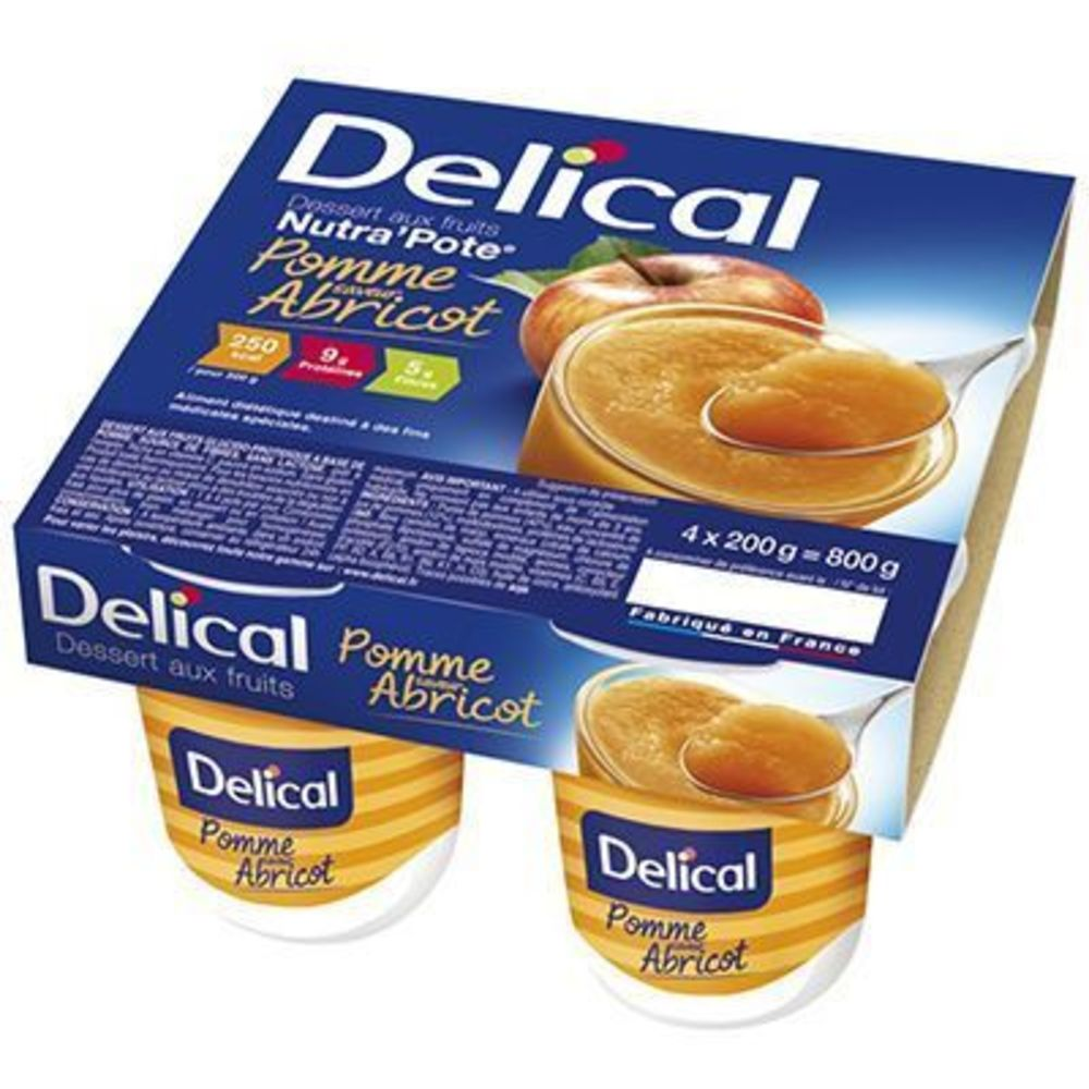 Delical nutra pote abricot 4x200g - 800.0 g - délical -149490