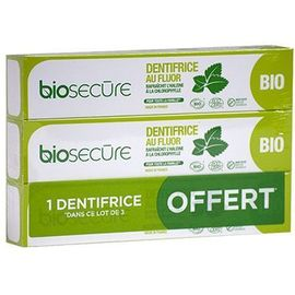 Dentifrice au fluor lot de 3 x 75ml - bio secure -220768