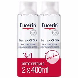 Dermatoclean lotion micellaire 3 en 1 - 2x400ml - eucerin -215025