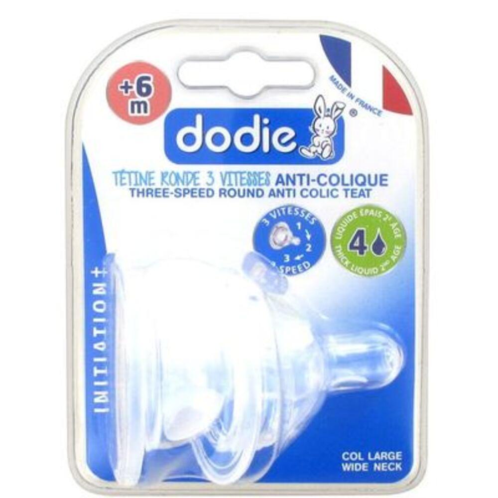 Dodie tétine silicone col large +6 mois 3 vitesses liquide épais débit 4 - lot de 2 - 2.0 unites - tetines + 4 mois - dodie -106668
