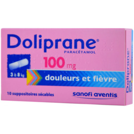 Doliprane 100mg - 10 suppositoires sécables - sanofi -192213