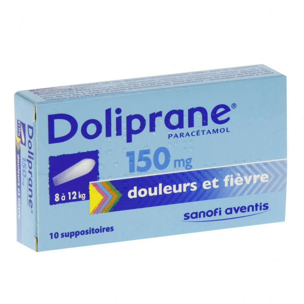Doliprane 150mg  - 10 suppositoires Sanofi-192199