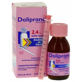 Doliprane 2,4% sans sucre suspension buvable - 100.0 ml - sanofi -192281