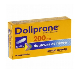 Doliprane 200mg - 10 suppositoires - sanofi -192287