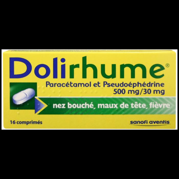 Dolirhume paracetamol et pseudoephedrine 500mg/30mg Sanofi-192908