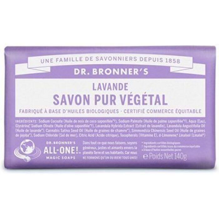 Dr bronner's pain savon pur végétal lavande 140g Dr bronner s-220620