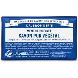 Dr bronner's pain savon pur végétal menthe poivrée 140g - dr bronner s -220621