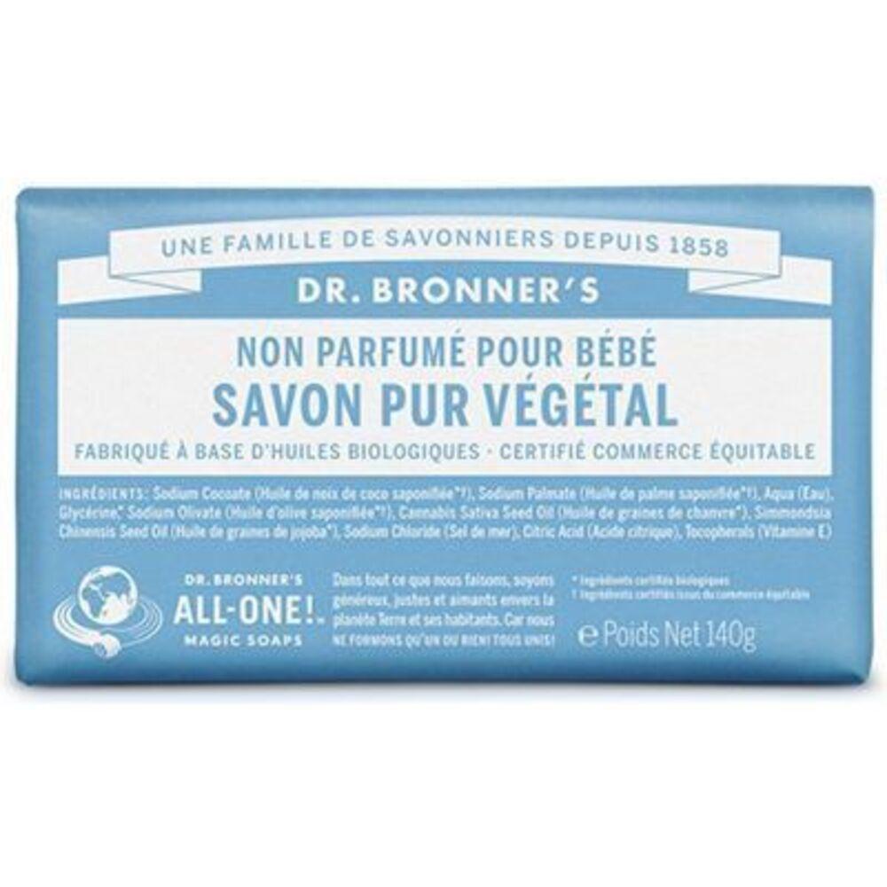 Dr bronner's pain savon pur végétal non parfumé pour bébé 140g - dr bronner s -220622
