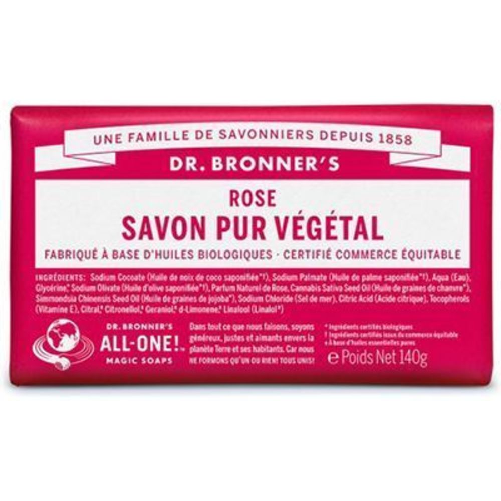 Dr bronner's pain savon pur végétal rose 140g - dr bronner s -220623