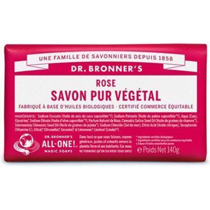 Dr bronner's pain savon pur végétal rose 140g Dr bronner s-220623