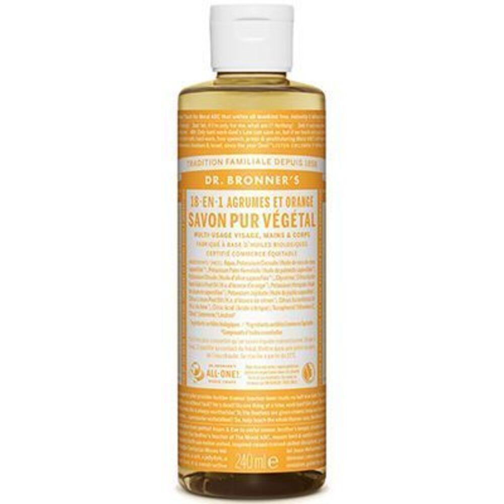 Dr bronner's savon pur végétal 18-en-1 agrumes orange 240ml - dr bronner s -220624