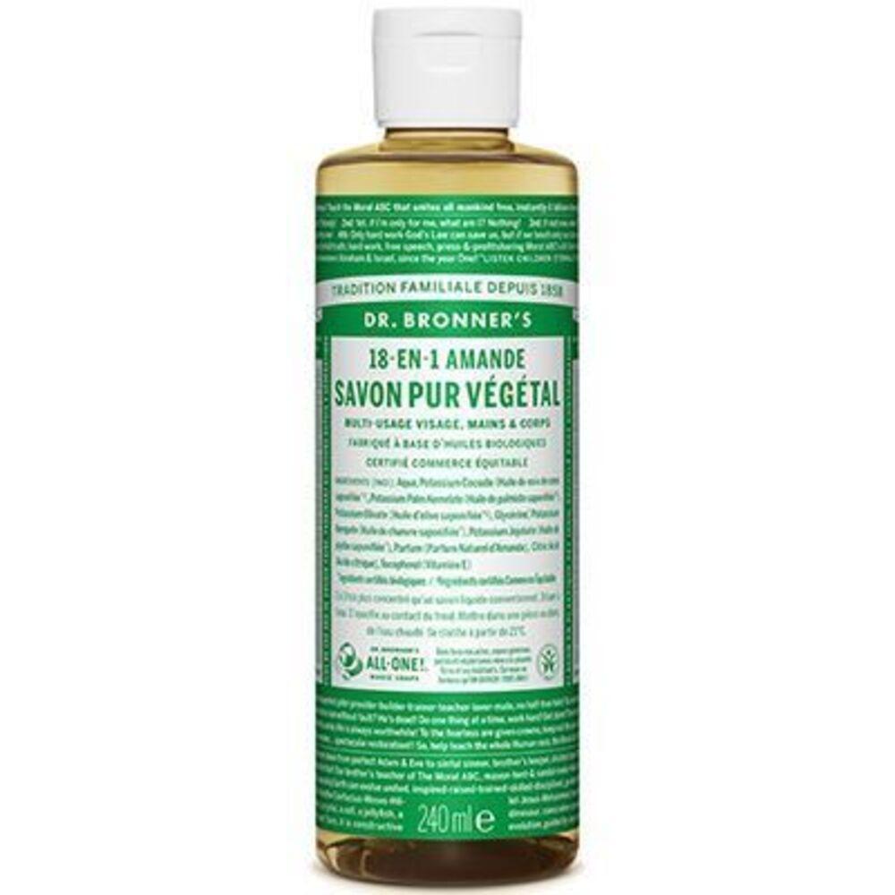 Dr bronner's savon pur végétal 18-en-1 amande 240ml - dr bronner s -220626