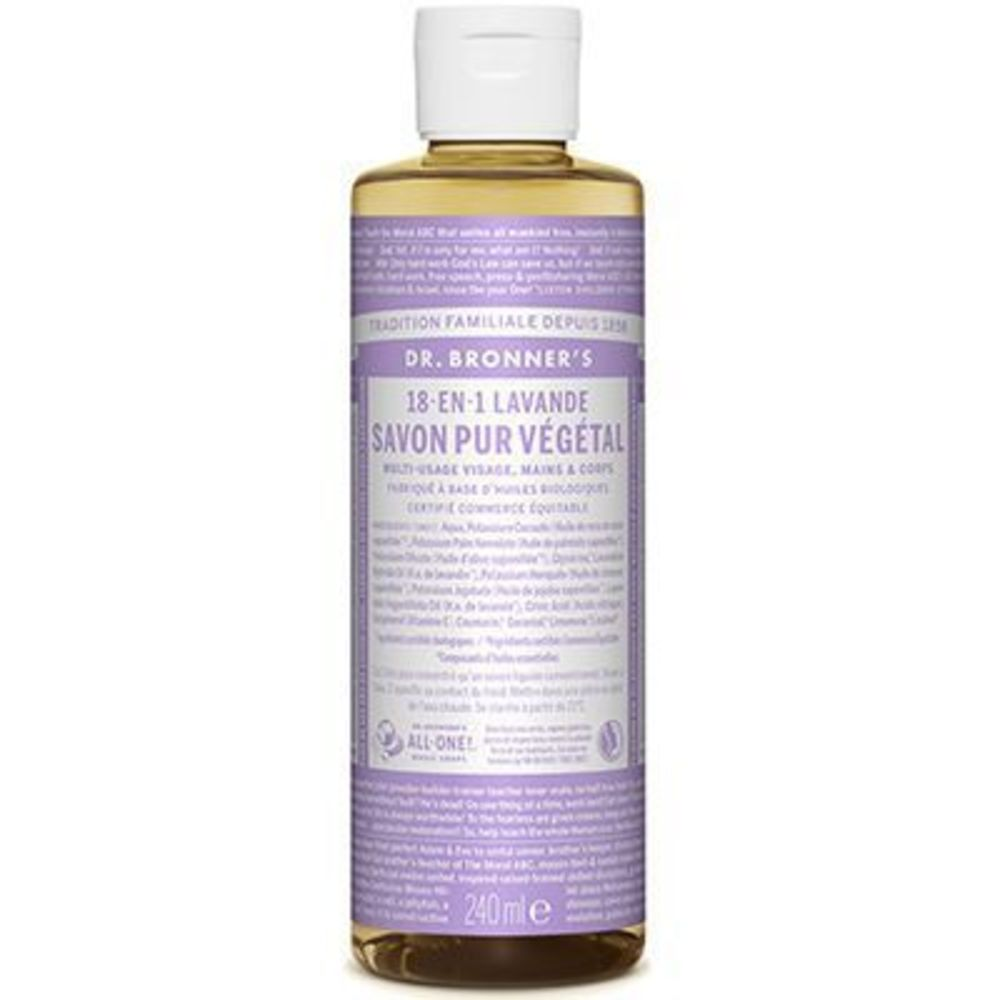 Dr bronner's savon pur végétal 18-en-1 lavande 240ml - dr bronner s -220632