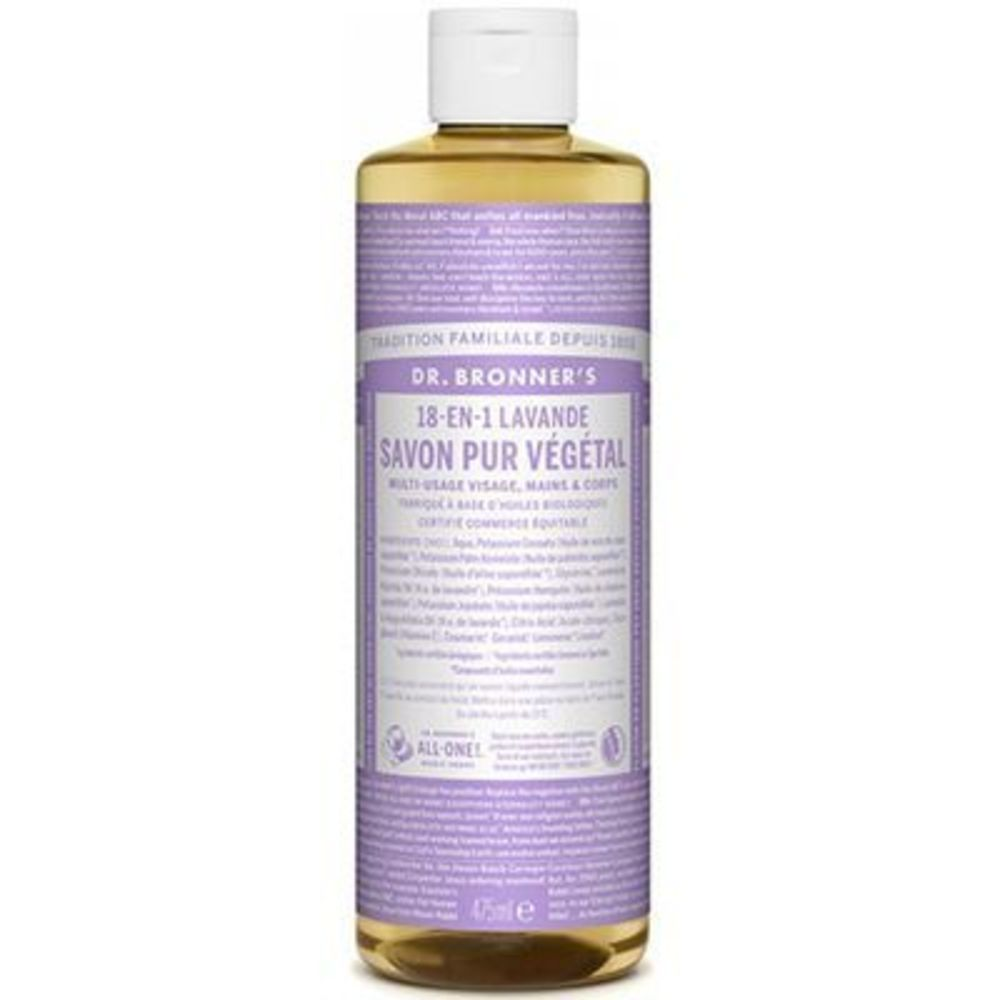 Dr bronner's savon pur végétal 18-en-1 lavande 473ml - dr bronner s -220633