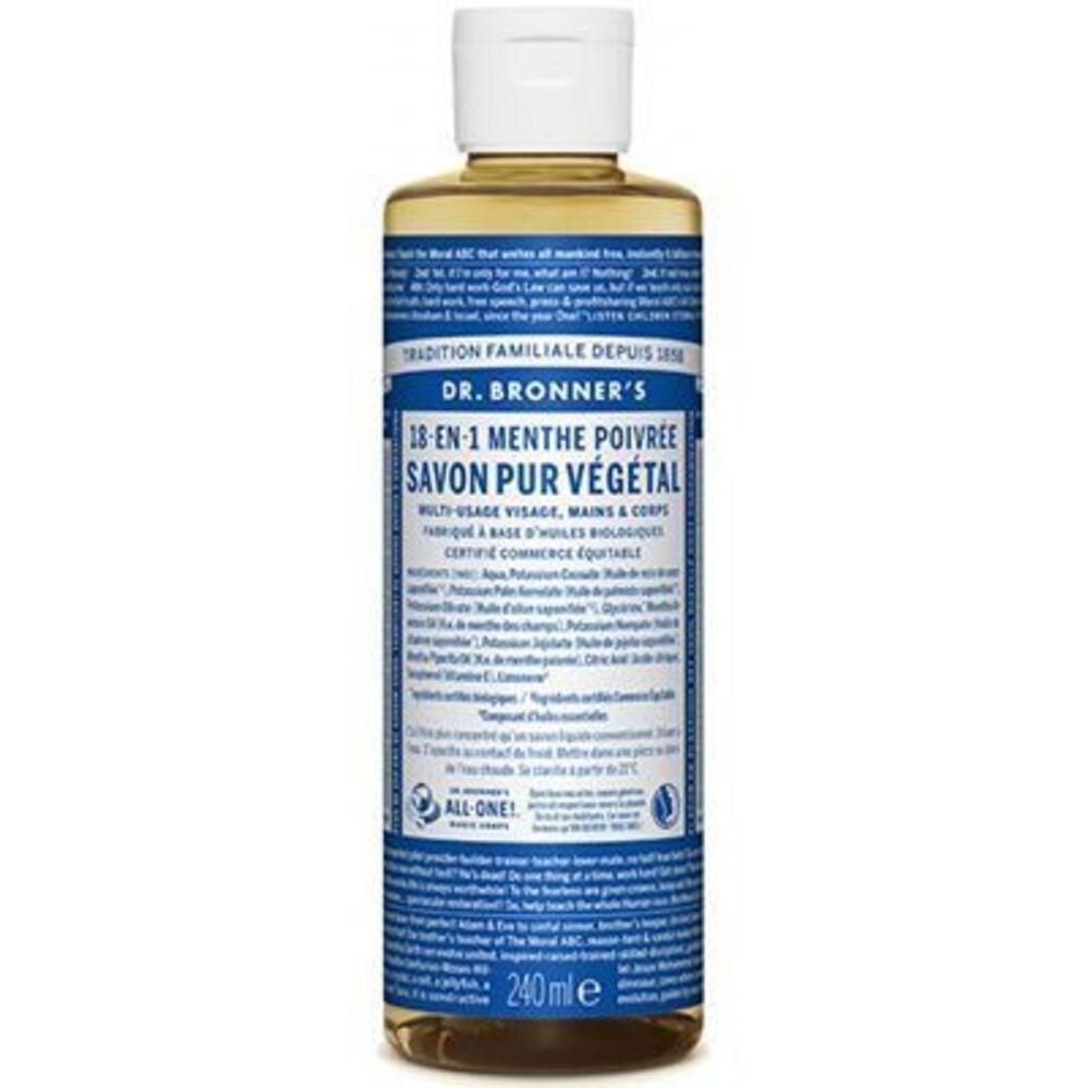 Dr bronner's savon pur végétal 18-en-1 menthe poivrée 240ml Dr bronner s-220634