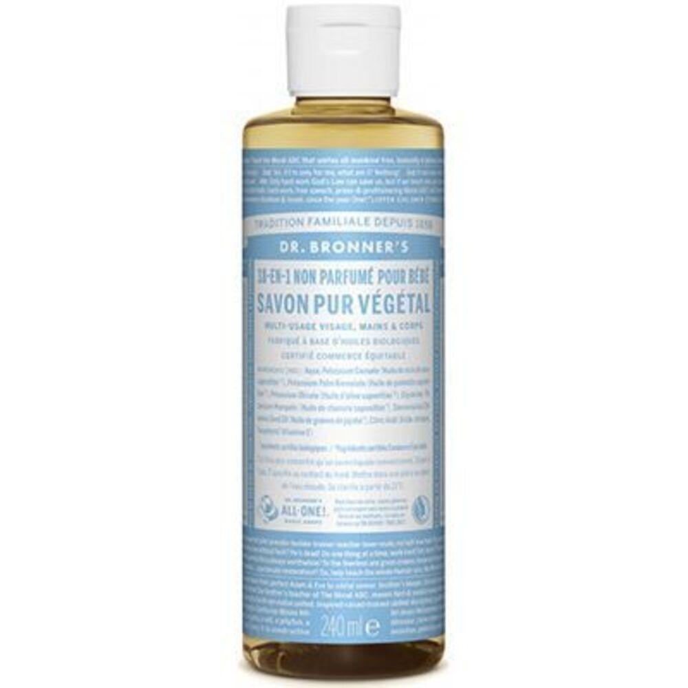 Dr bronner's savon pur végétal 18-en-1 non parfumé pour bébé 240ml - dr bronner s -220636