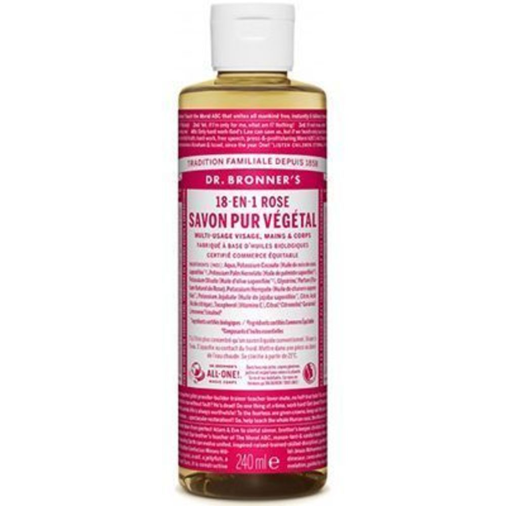 Dr bronner's savon pur végétal 18-en-1 rose 240ml Dr bronner s-220638