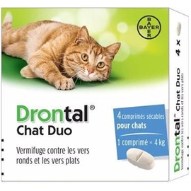 Drontal chat duo vermifuge - 4 comprimés - bayer -212720