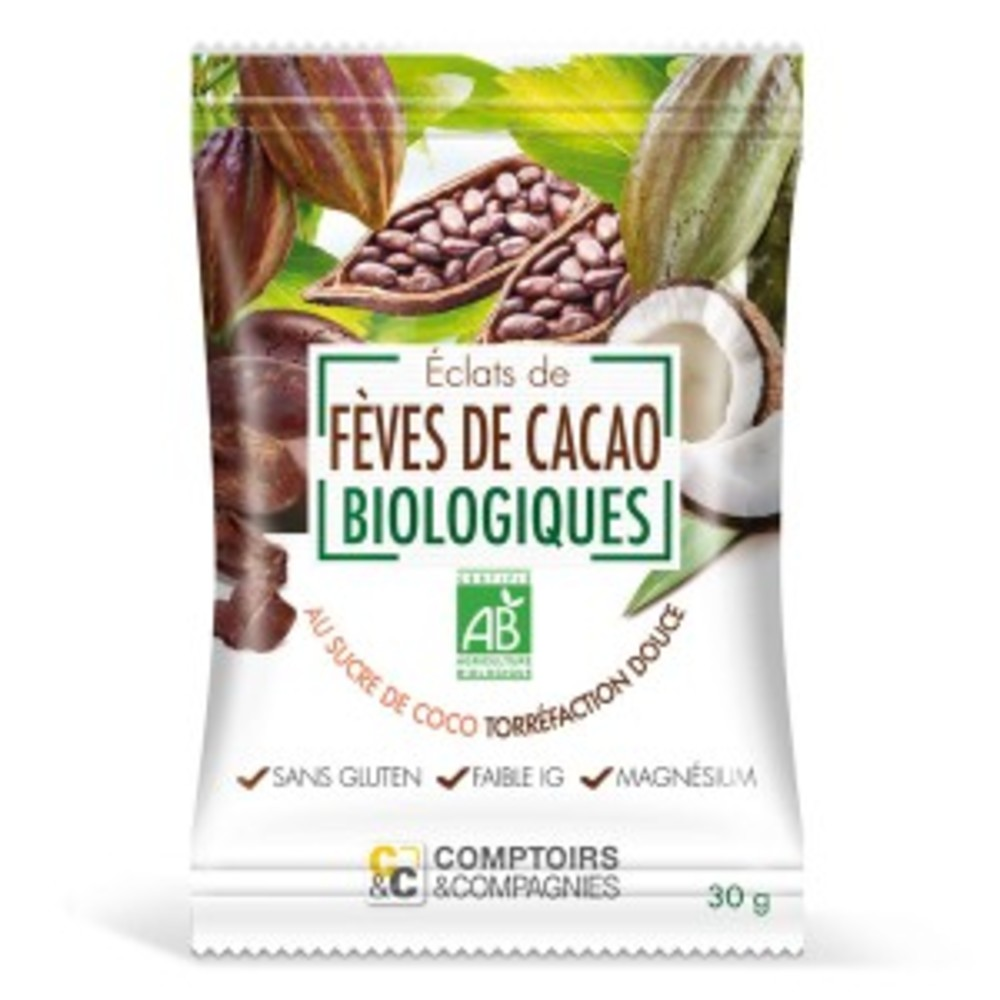 Eclats de fève de cacao torrefies, enrobés sucre coco bio... - divers - comptoirs & compagnies -141896