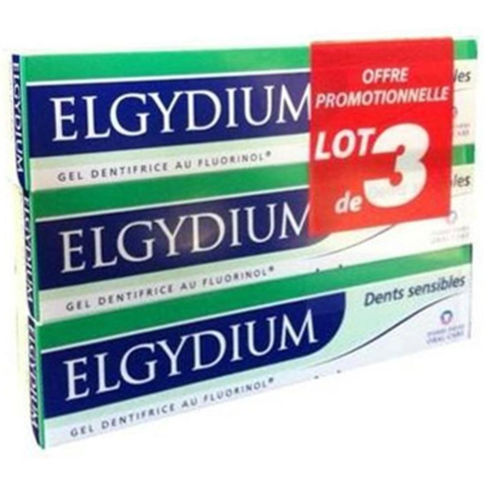 Elgydium gel dentifrice dents sensibles 3 x 75 ml - elgydium -206558