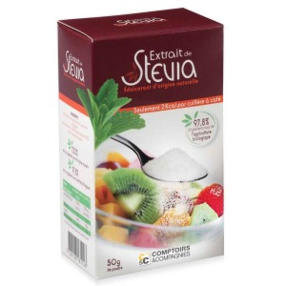 Extrait de stévia poudre - 50 g - divers - comptoirs & compagnies -134761