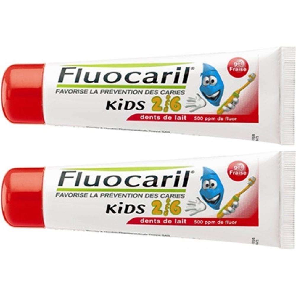 Fluocaril kids 0-6ans gel dentifrice fraise lot de 2x50ml - fluocaril -198548
