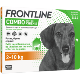Frontline combo chiens 2 à 10 kg - 4 pipettes - merial -160066