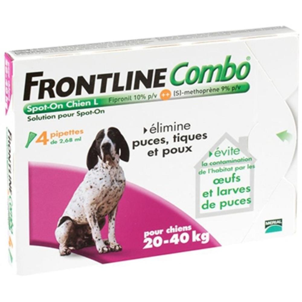 Frontline combo chiens 20 à 40 kg - 4 pipettes - merial -190090