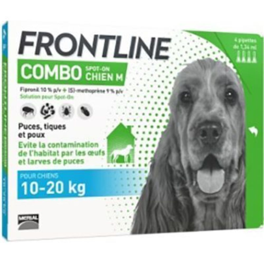 Frontline combo spot-on chien m 4 pipettes - merial -190091