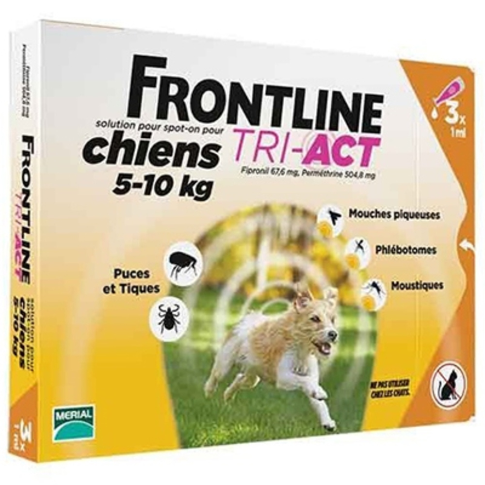 Frontline tri-act chiens 5-10kg - 3 pipettes - merial -191257