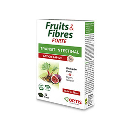 Fruits & fibres forte transit intestinal action rapide 12 comprimés - ortis -225328