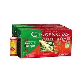 Ginseng gelée royale acérola bio 2 x 20 ampoules - 40.0 unites - vitalité - super diet -138702