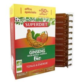 Ginseng gelée royale acérola bio - promo - 30.0 unites - la gamme vitalité - super diet -125762