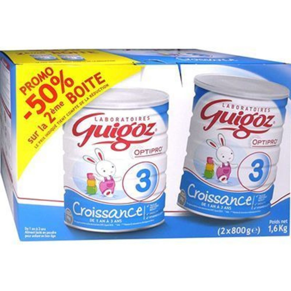 Guigoz croissance 3 lait en poudre 1-3 ans 2x800g - 800.0 g - guigoz -210735