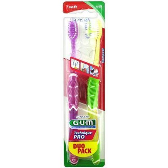 Gum 1525 duo pack lot de 2 brosses à dents souple Gum-210763