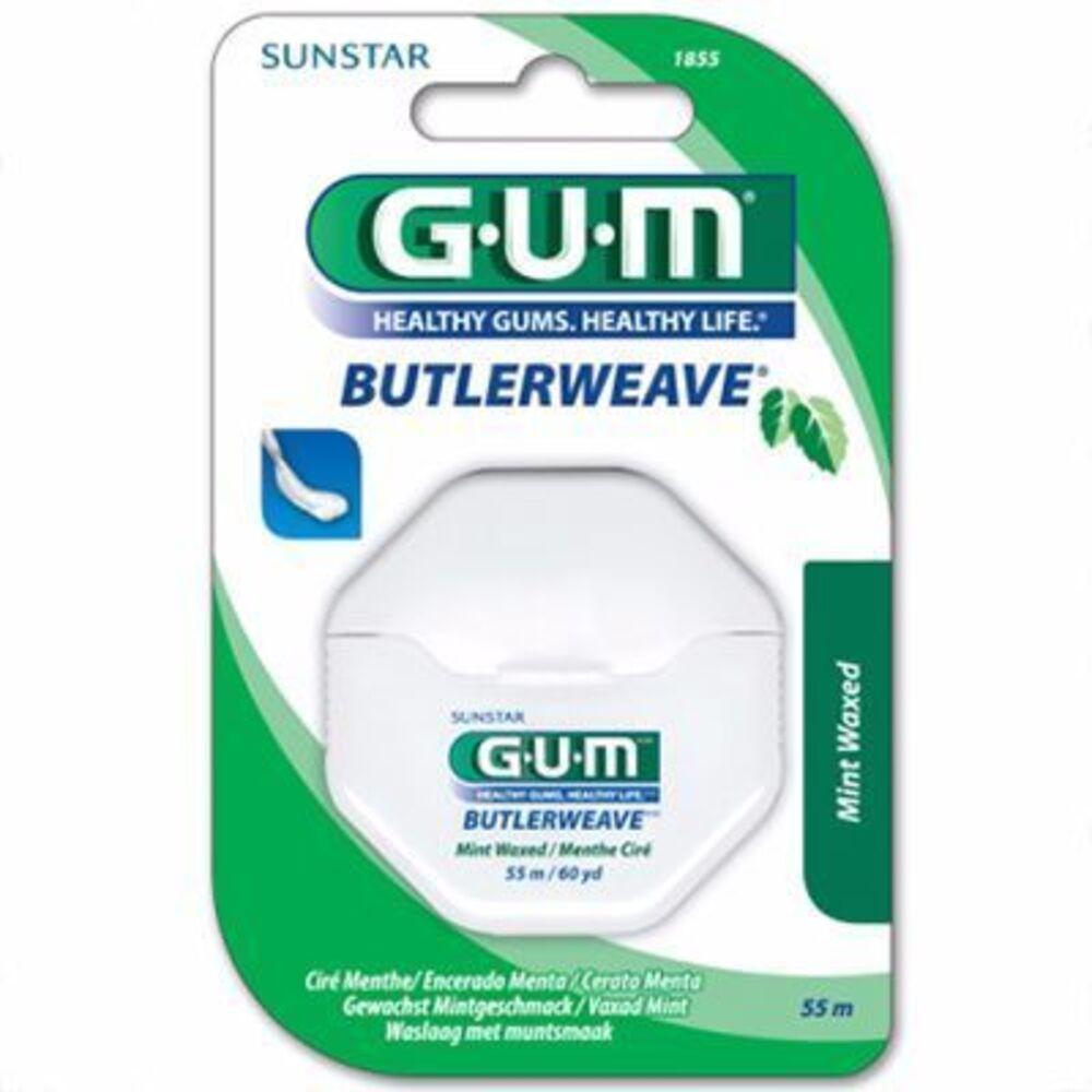 Gum 1855 butlerweave fil dentaire ciré menthe 55m - gum -144905