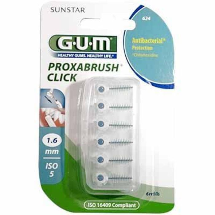 Gum 624 proxabrush click brossettes recharges 1.6mm - 6 brossettes Gum-212155